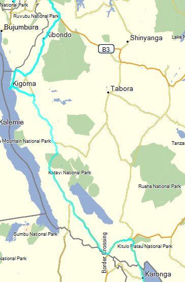 Route Tanzania B8